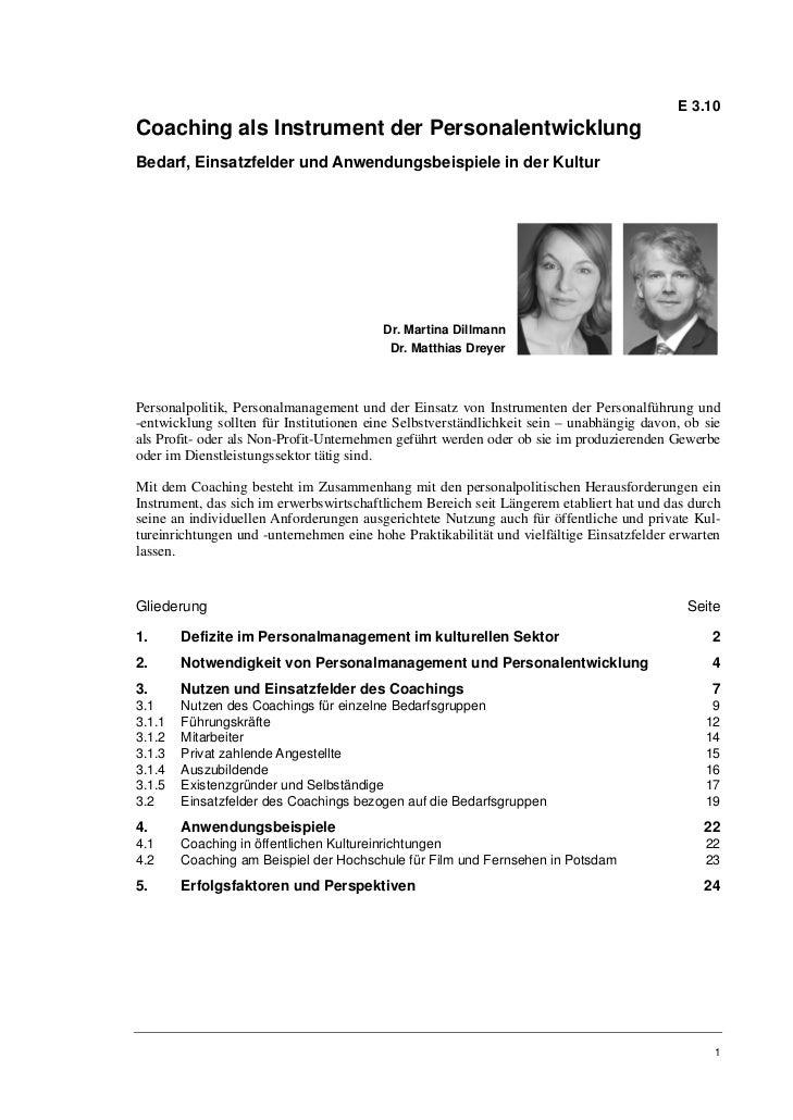 E 3.10Coaching als Instrument der PersonalentwicklungBedarf, Einsatzfelder und Anwendungsbeispiele in der Kultur          ...