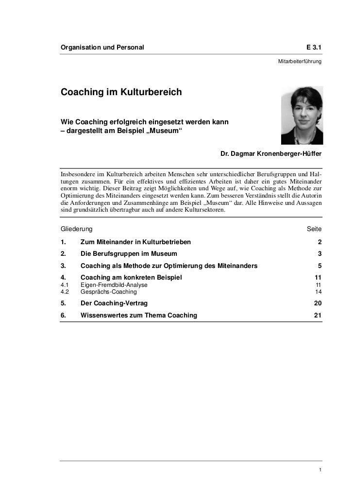 Dr. Dagmar Kronenberger-Hüffer: Coaching im Kulturbereich