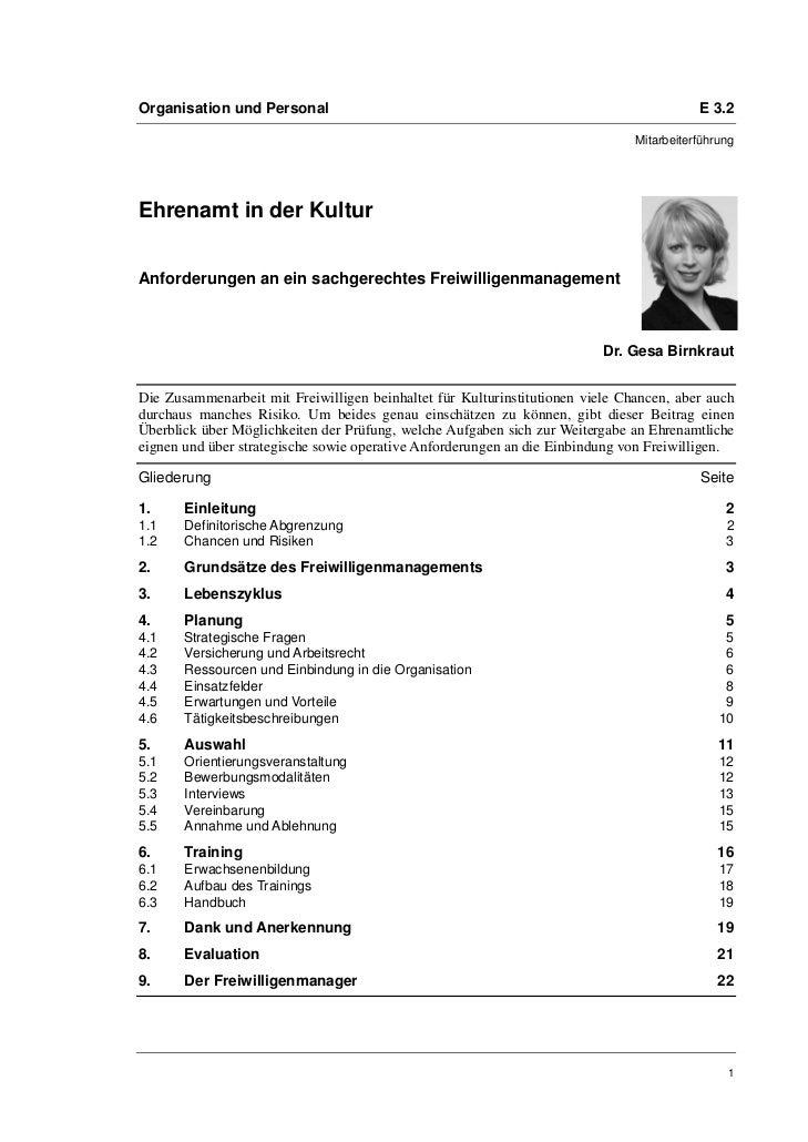 Organisation und Personal                                                                 E 3.2                           ...