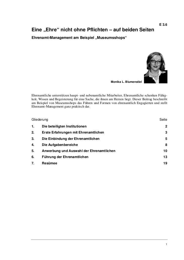 """E 3.6Eine """"Ehre"""" nicht ohne Pflichten – auf beiden SeitenEhrenamt-Management am Beispiel """"Museumsshops""""                   ..."""