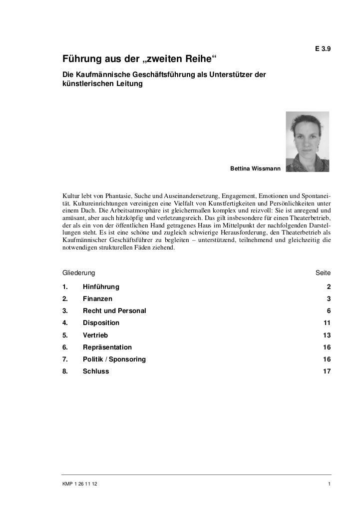 """E 3.9Führung aus der """"zweiten Reihe""""Die Kaufmännische Geschäftsführung als Unterstützer derkünstlerischen Leitung         ..."""