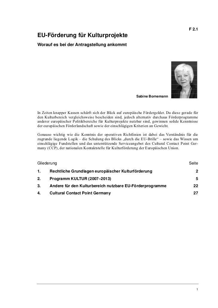 Sabine Bornemann: EU-Förderung für Kulturprojekte. Worauf es bei der Antragstellung ankommt