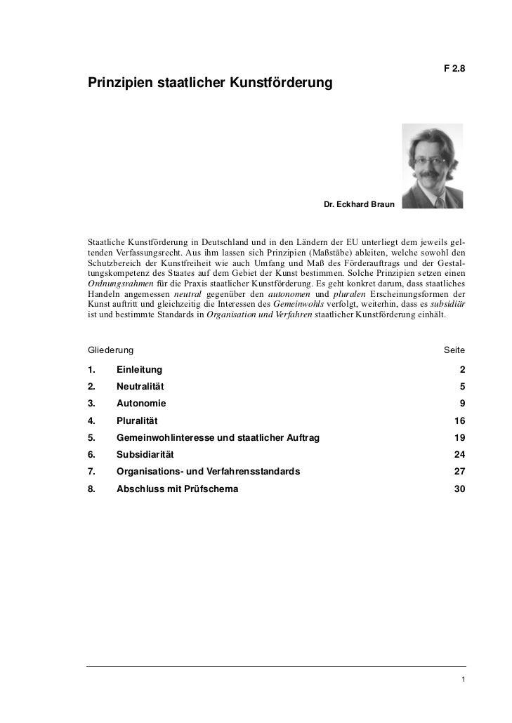 Dr. Eckhard Braun: Prinzipien staatlicher Kunstförderung