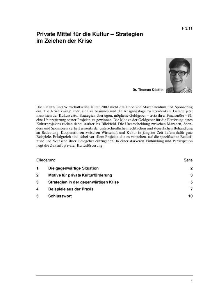 F 3.11Private Mittel für die Kultur – Strategienim Zeichen der Krise                                                      ...