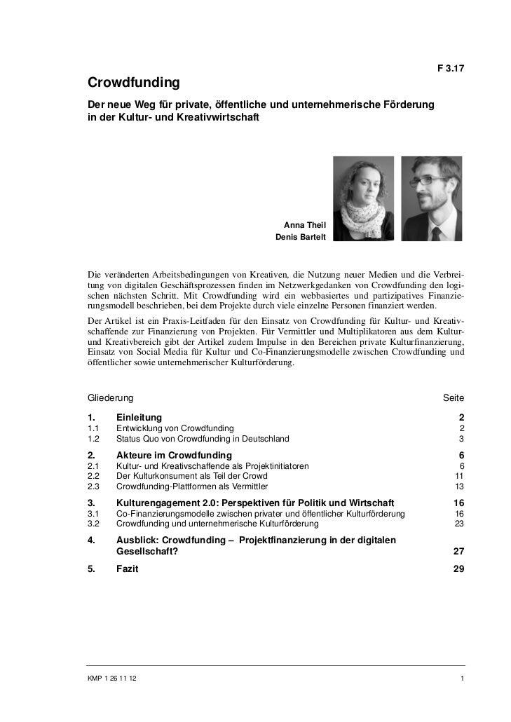 F 3.17CrowdfundingDer neue Weg für private, öffentliche und unternehmerische Förderungin der Kultur- und Kreativwirtschaft...
