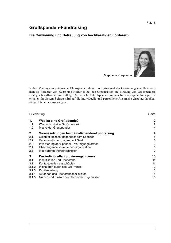 F 3.18Großspenden-FundraisingDie Gewinnung und Betreuung von hochkarätigen Förderern                                      ...