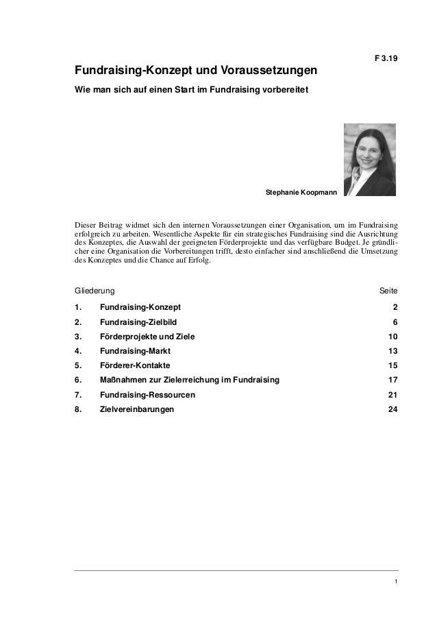 Stephanie Koopmann: Fundraising-Konzept und Voraussetzungen