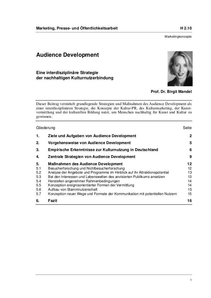 Prof. Dr. Birgit Mandel: Audience Development. Eine interdisziplinäre Strategie der nachhaltigen Kulturnutzerbindung