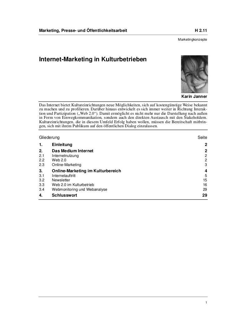 Marketing, Presse- und Öffentlichkeitsarbeit                                             H 2.11                           ...