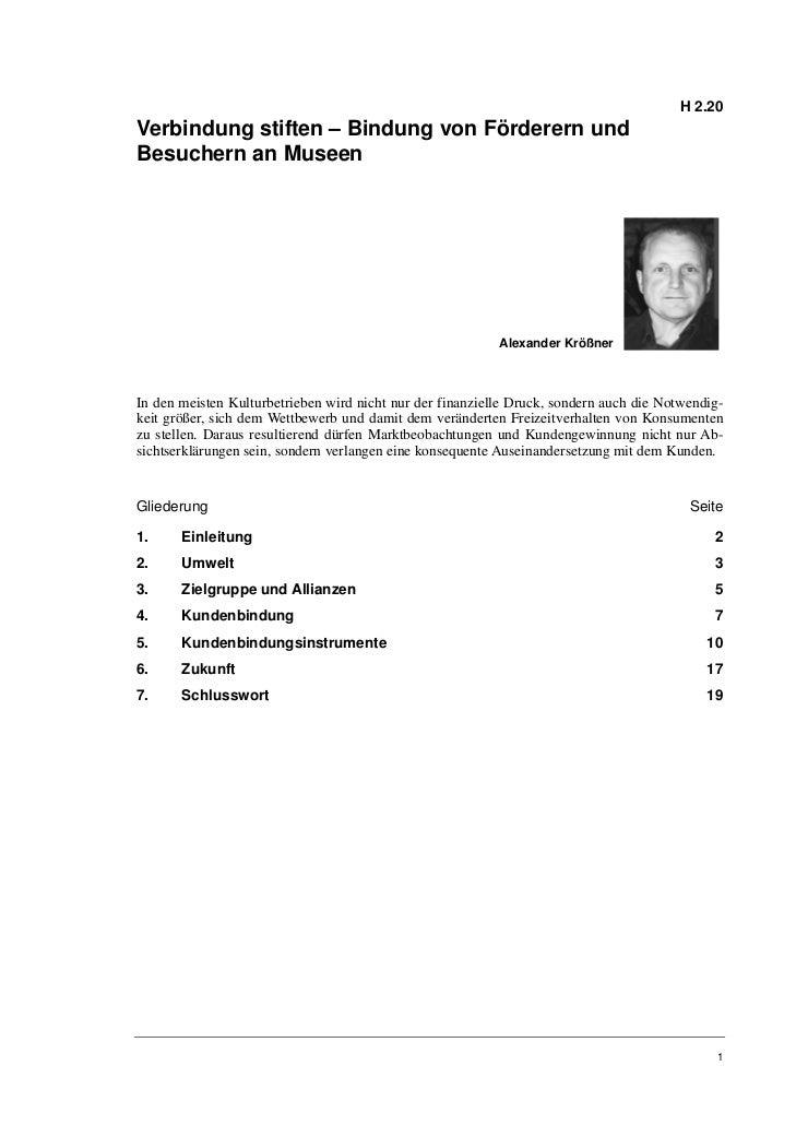 H 2.20Verbindung stiften – Bindung von Förderern undBesuchern an Museen                                                   ...