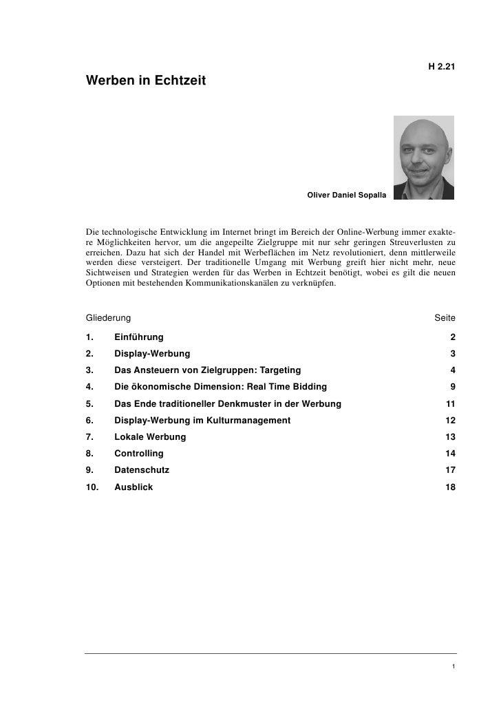 Oliver Daniel Sopalla: Werben in Echtzeit