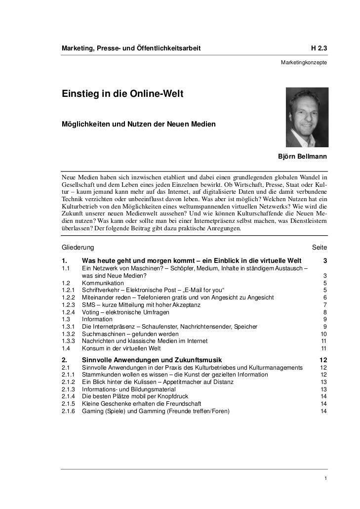 Björn Bellmann: Einstieg in die Online-Welt. Möglichkeiten und Nutzen der Neuen Medien