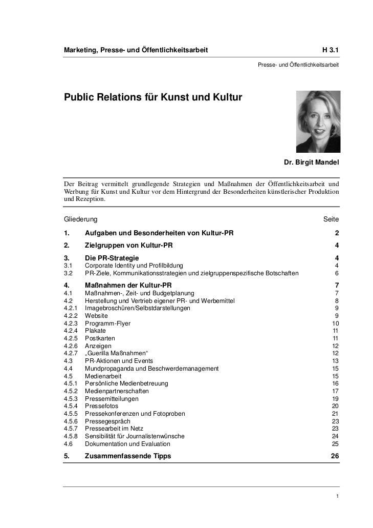 Marketing, Presse- und Öffentlichkeitsarbeit                                                 H 3.1                        ...