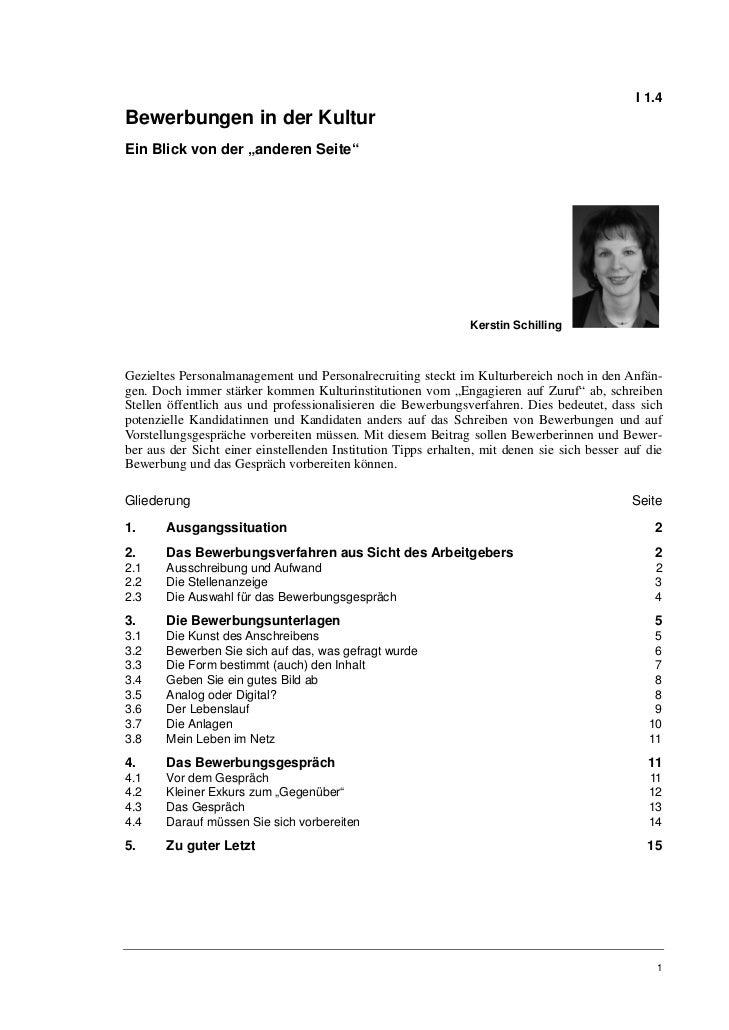 """I 1.4Bewerbungen in der KulturEin Blick von der """"anderen Seite""""                                                           ..."""