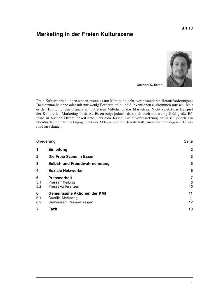 J 1.13Marketing in der Freien Kulturszene                                                              Gordon K. StrahlFre...