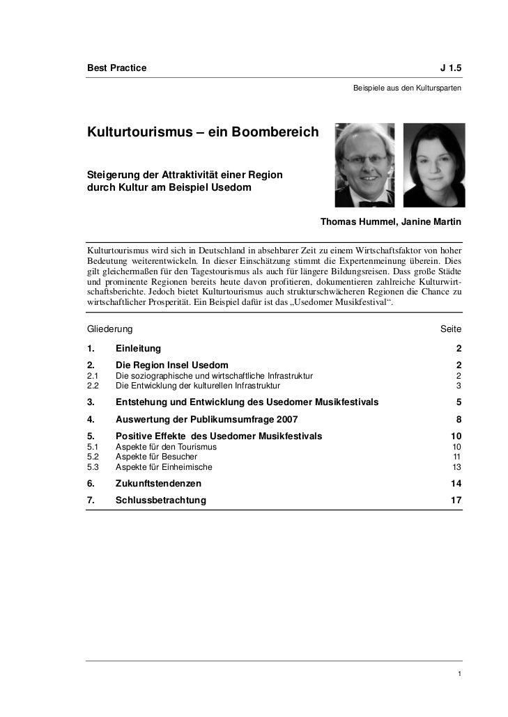 Thomas Hummel, Janine Martin: Kulturtourismus – ein Boombereich. Steigerung der Attraktivität einer Region durch Kultur am Beispiel Usedom