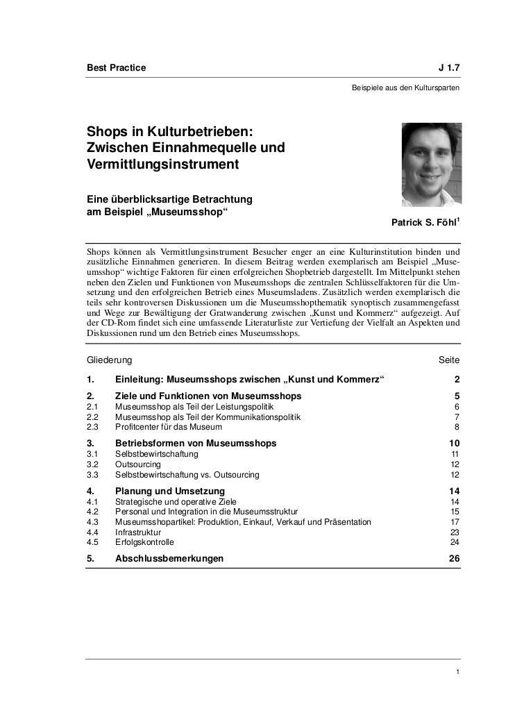 Dr. Patrick S. Föhl: Shops in Kulturbetrieben: Zwischen Einnahmequelle und Vermittlungsinstrument