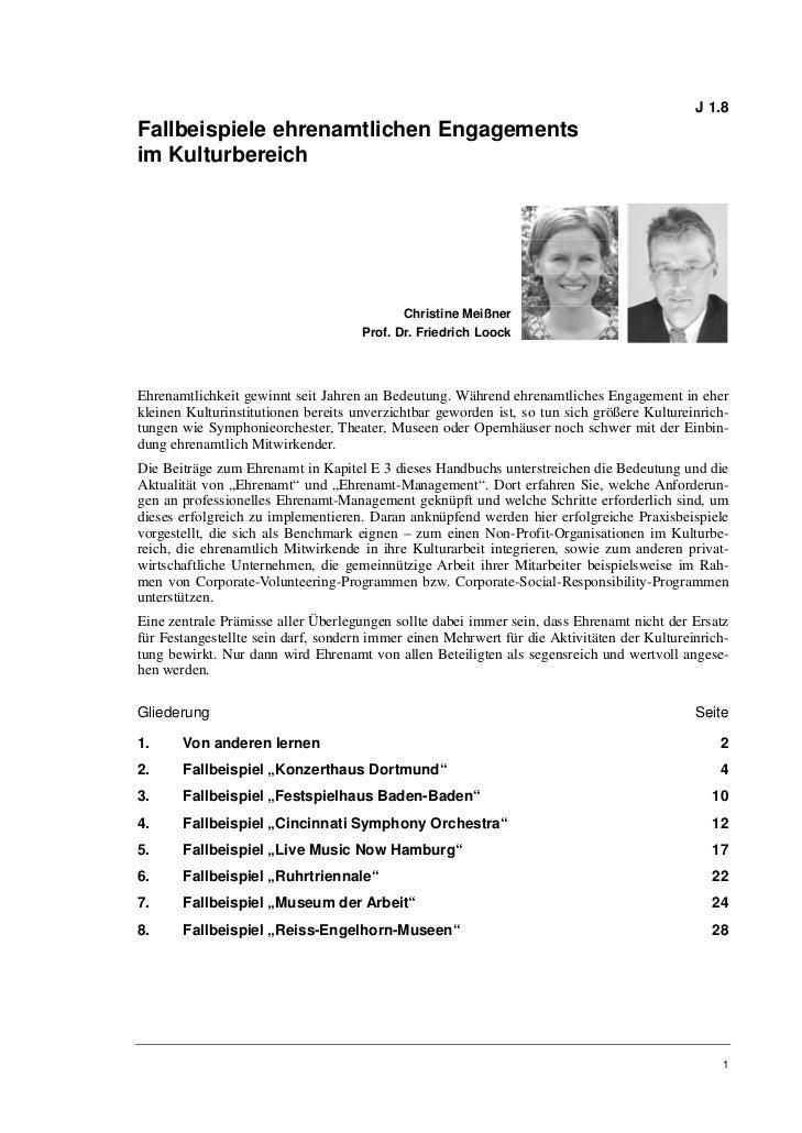 Christine Meißner, Prof. Dr. Friedrich Loock: Fallbeispiele ehrenamtlichen Engagements im Kulturbereich