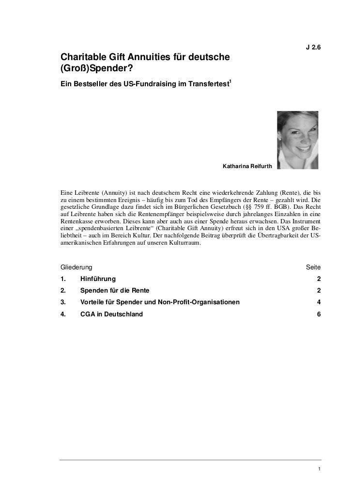 Katharina Reifurth: Charitable Gift Annuities für deutsche (Groß)Spender?