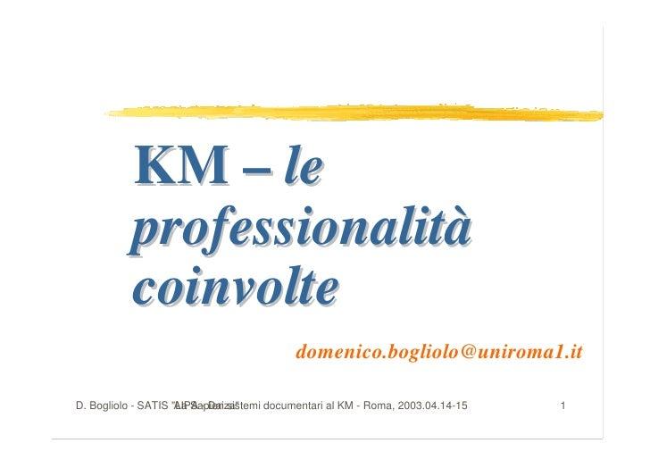 KM – le            professionalità            coinvolte                                             domenico.bogliolo@unir...