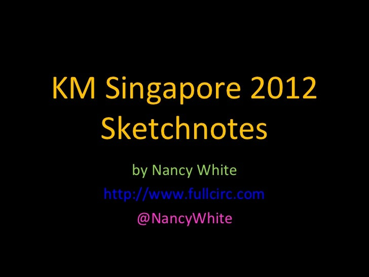 KM Singapore 2012  Sketchnotes       by Nancy White   http://www.fullcirc.com        @NancyWhite
