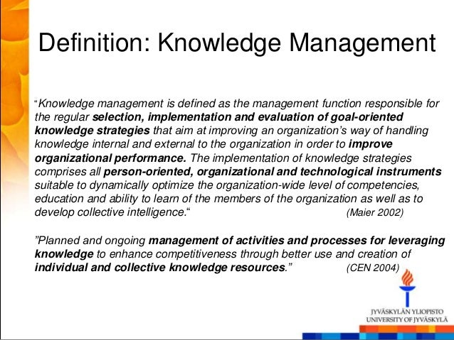 managing knowledge essay