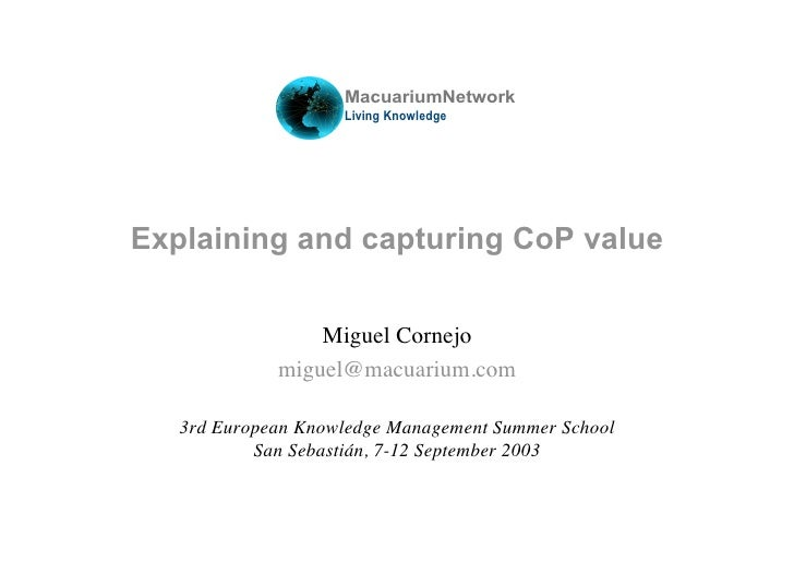 MacuariumNetwork                      Living Knowledge     Explaining and capturing CoP value                   Miguel Cor...