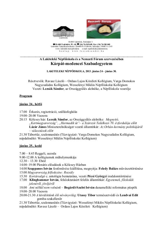 Kárpát-medencei Szabadegyetem 2013