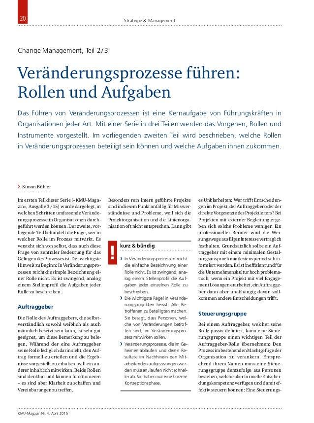 KMU-Magazin Nr. 4, April 2015 20 Strategie & Management Im ersten Teil dieser Serie («KMU-Maga- zin», Ausgabe 3/15) wurde...