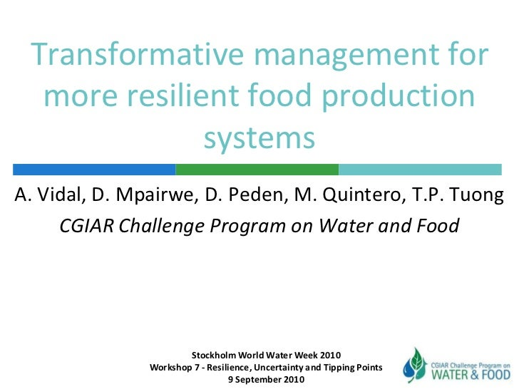 Transformative management for more resilient food production systems