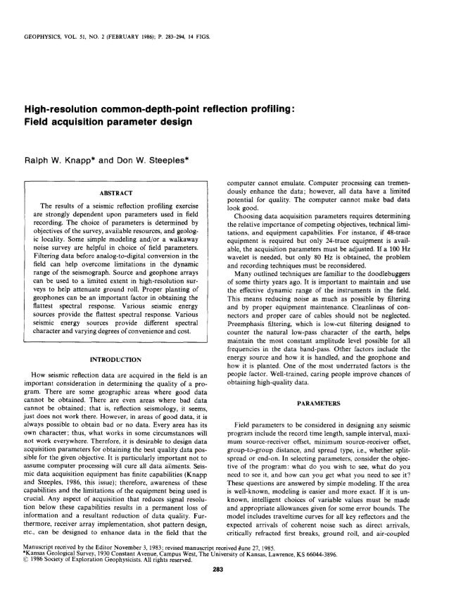 GEOPHYSICS, VOL. 51, NO. 2 (FEBRUARY 1986); P. 283-294, 14 FIGS. High-resolution common-depth-point reflection profiling :...