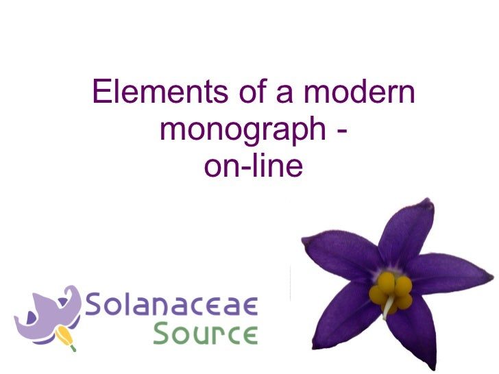 Elements of a modern monograph - on-line
