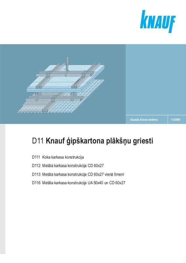 Sausās būves sistēma  D11 Knauf ģipškartona plākšņu griesti D111 Koka karkasa konstrukcija D112 Metāla karkasa konstrukcij...