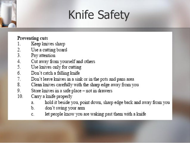 Knife skills powerpoint for 5 kitchen safety tips