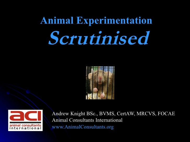 Animal Experimentation  Scrutinised                         Andrew Knight BSc., BVMS, CertAW, MRCVS, FOCAE   Animal Consu...