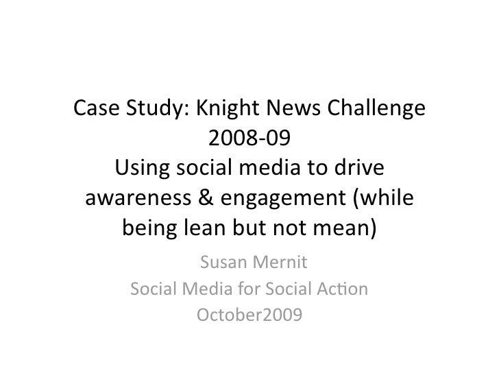 Social Media for Social Action: Case studies in campaign planning for social media