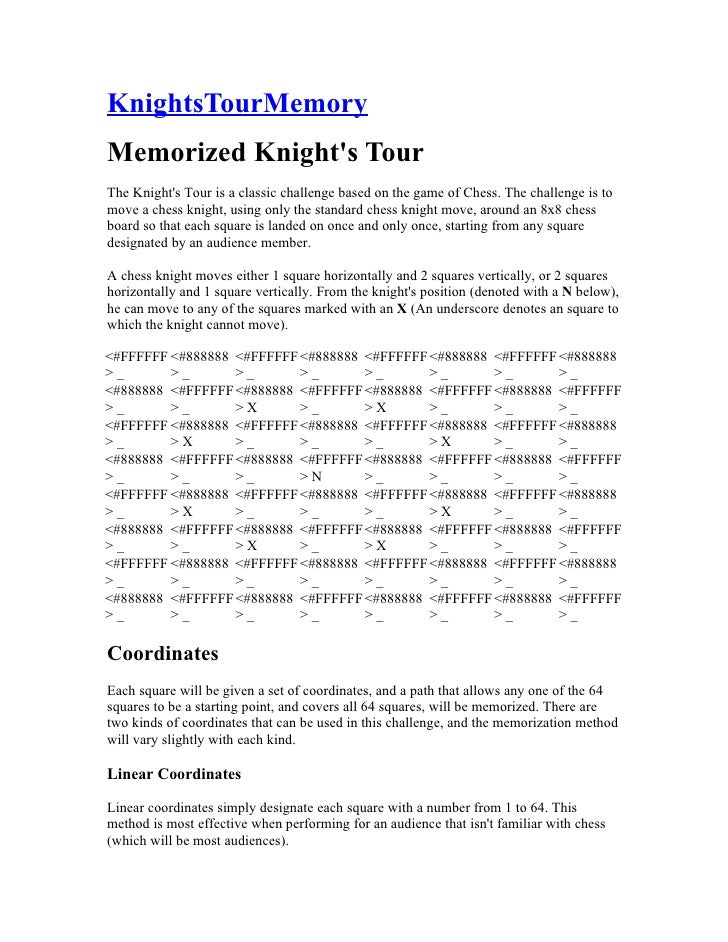KnightsTourMemory Memorized Knight's Tour The Knight's Tour is a classic challenge based on the game of Chess. The challen...