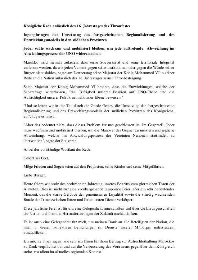 Königliche Rede anlässlich des 16. Jahrestages des Thronfestes Ingangbringen der Umsetzung des fortgeschrittenen Regionali...