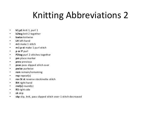 Knitting Pattern Abbreviations Rs : Knitting basics