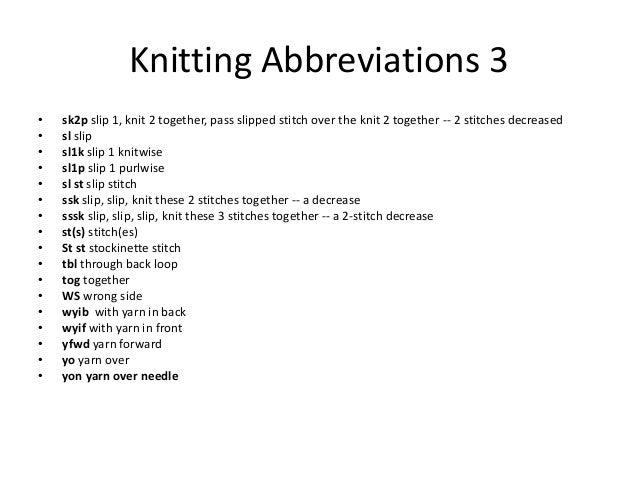Knitting Abbreviations Yo : Knitting basics