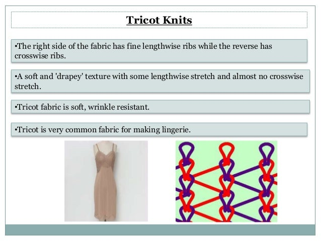 Tricot Knit Structure Tricot Knits •the Right Side
