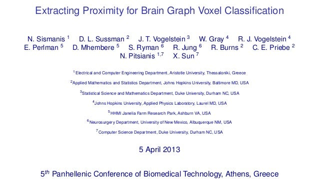 Extracting Proximity for Brain Graph Voxel Classification N. Sismanis 1 D. L. Sussman 2 J. T. Vogelstein 3 W. Gray 4 R. J. ...