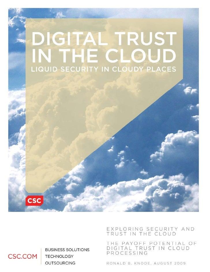 Digital Trust In The Cloud