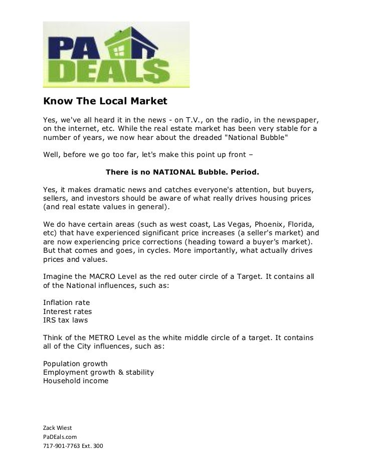 Know the Local Market PA Deals