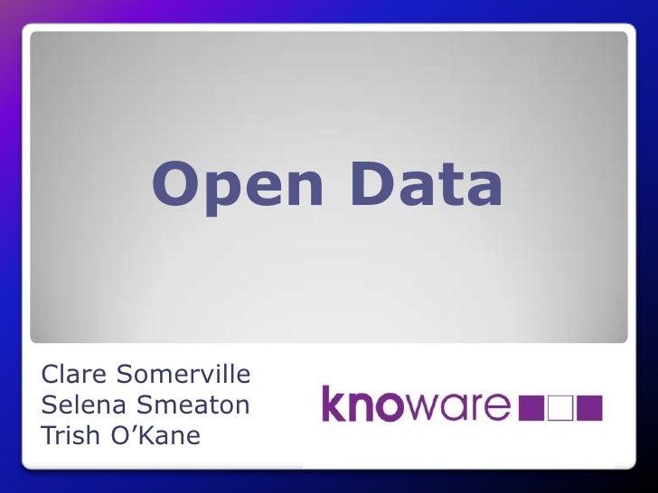 Open DataClare SomervilleSelena SmeatonTrish O'Kane
