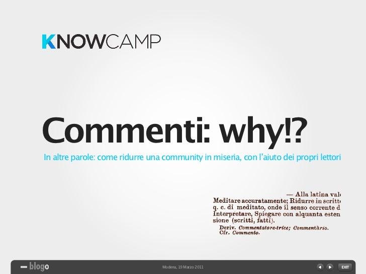 Knowcamp Modena: Commenti why!?