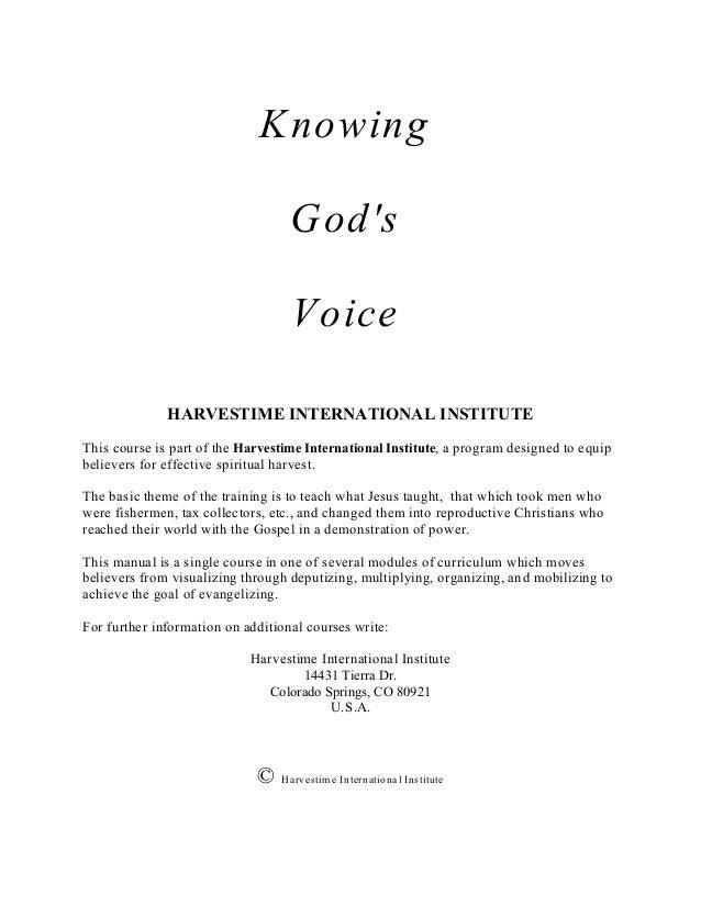 Knowing                                   G ods                                   Voice              HARVESTIME INTERNATIO...