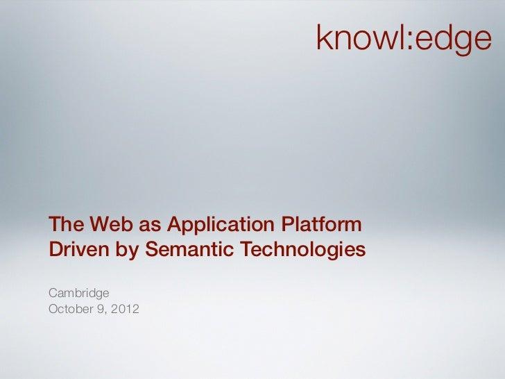 The Web as Application Platform Driven by Semantic Technologies