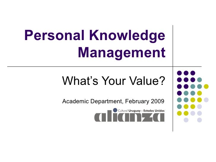 Personal Knowledge Management What's Your Value? Academic Department, February 2009