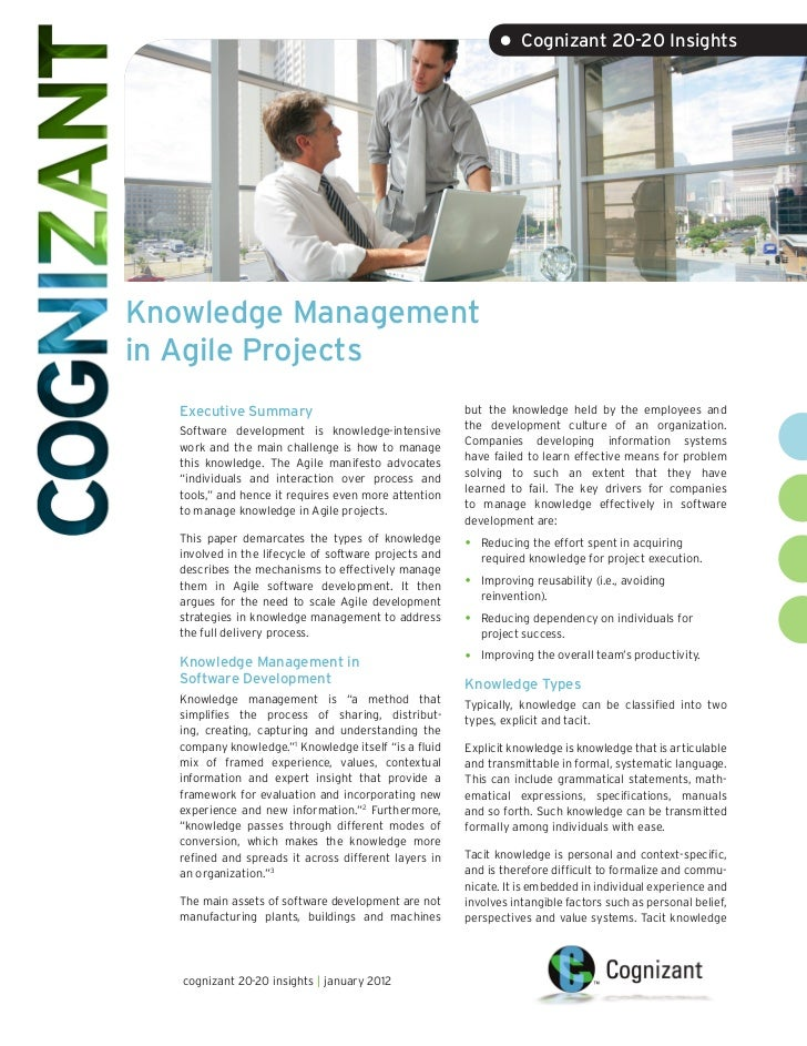 • Cognizant 20-20 InsightsKnowledge Managementin Agile Projects   Executive Summary                                    but...